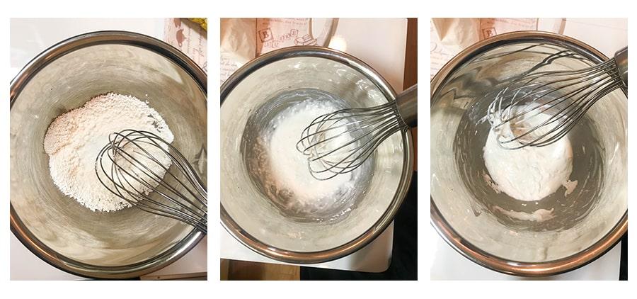 白玉粉に牛乳を加えて混ぜる